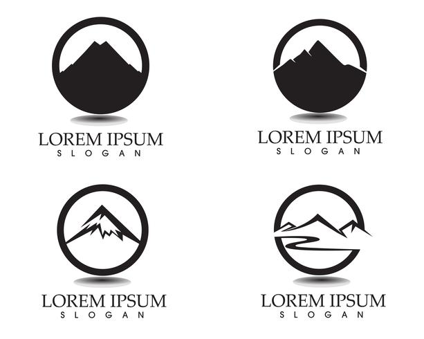 Logotipo de paisagem natureza montanha e modelo de ícones de símbolos
