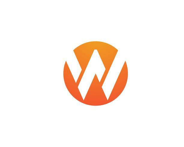 W letters bedrijfslogo en symbolen sjabloon pictogram app