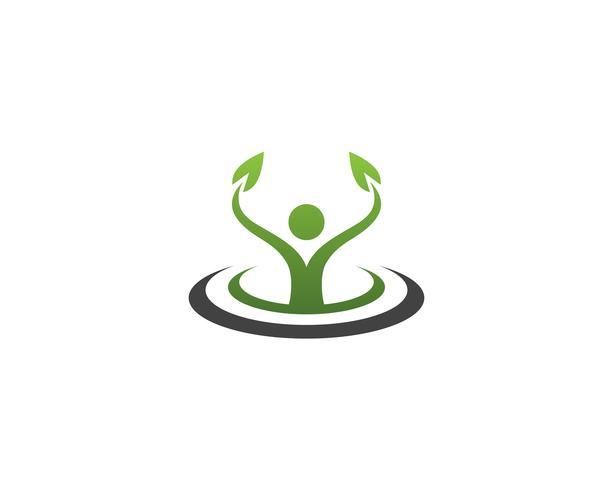 Gesundheitsnatur-Leutesorgfaltlogo und Symbolschablone