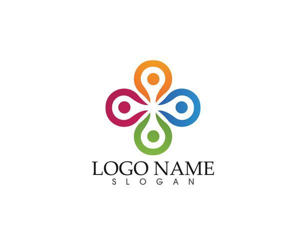 Plantilla de logotipo y símbolos para personas de la comunidad