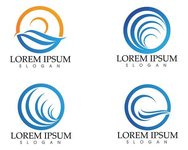 Zon en Watergolf Logo Template vector illustratieontwerp
