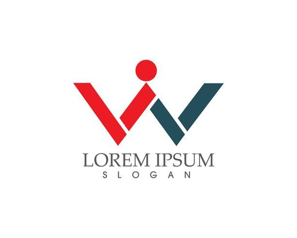 W lettere logo aziendale e modello di simboli ..