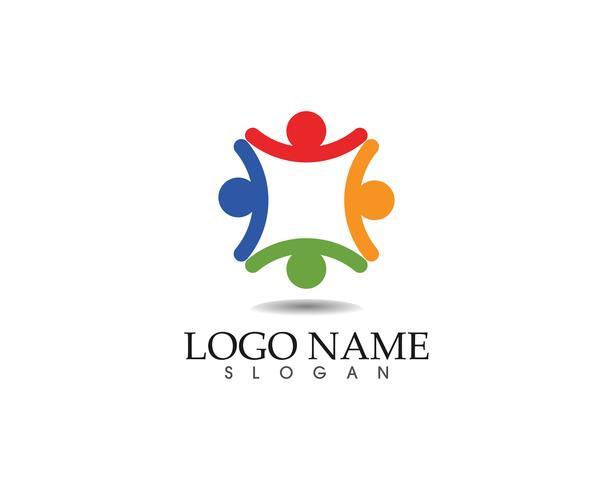 Gemeenschapsmensen geven logo- en symbolen-sjabloon