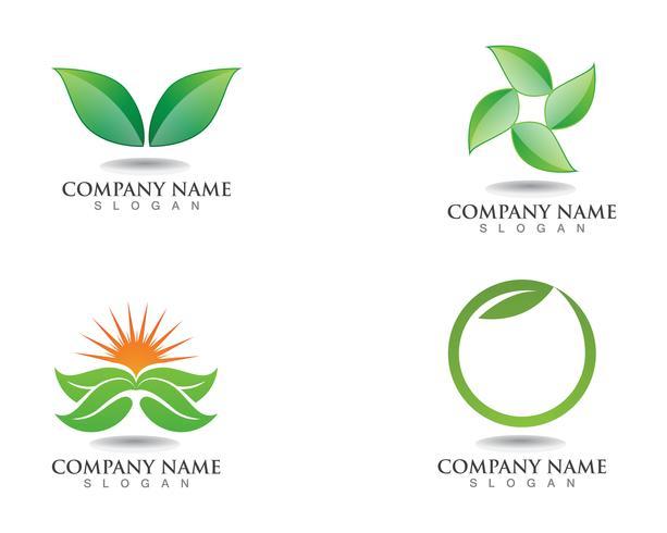 Logo's van groene blad ecologie natuurelement vector pictogram