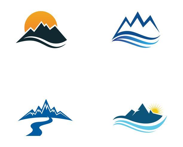 Berg natuur landschap logo en symbolen pictogrammen sjabloon