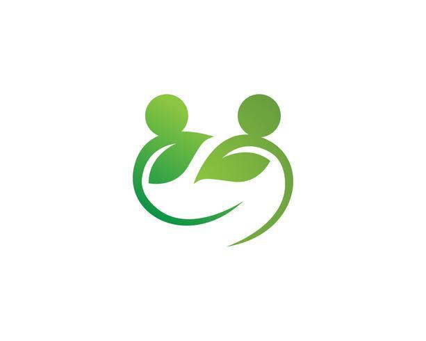Hälsa natur människor bryr sig logotyp och symboler mall