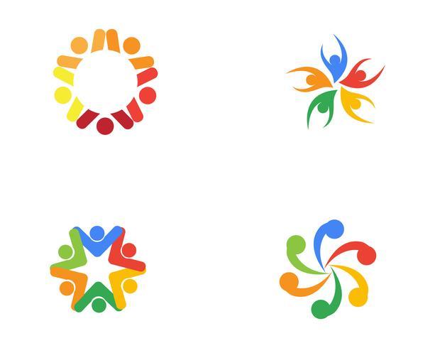 Plantilla de logotipo y símbolos de atención a la gente de la comunidad,