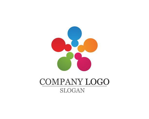 Gemeenschapsmensen geven logo en symbolenmalplaatjevector