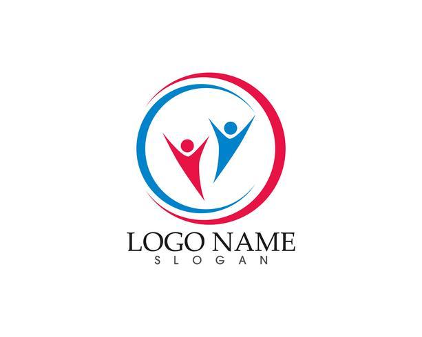 Modelo de logotipo e símbolos de ícone de vetor de comunidade