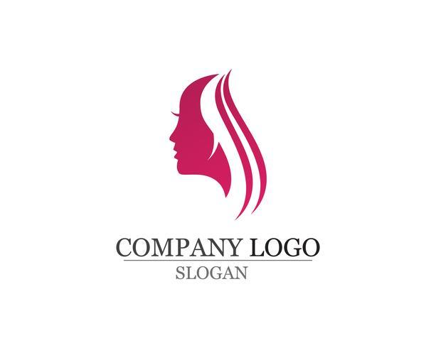 pelo mujer y cara logo y símbolos vector