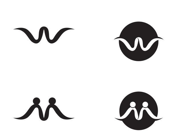 W brieven bedrijfslogo en symbolenmalplaatje.