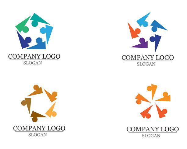 Vector de plantilla de logotipo y símbolos de atención de personas de comunidad