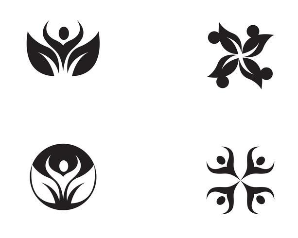 Plantilla de logotipo y símbolos de atención a la gente de la comunidad