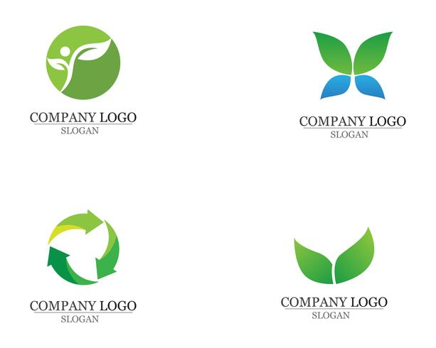 Hoja verde naturaleza logotipo y símbolo plantilla Vector aplicación