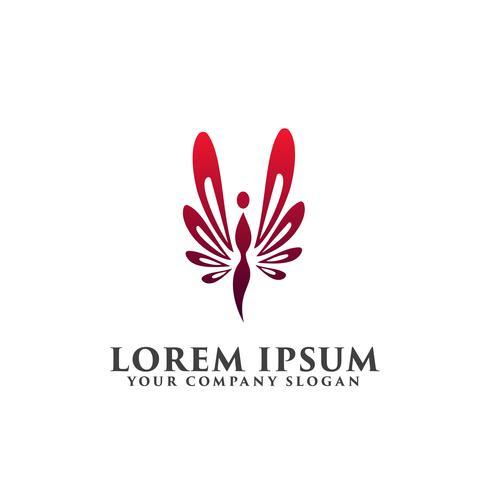 Logotipo de la gente de la mariposa, plantilla de concepto de diseño de logotipo de belleza spa