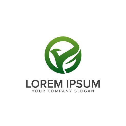 Plantilla de concepto de diseño de logotipo de hoja de pájaro