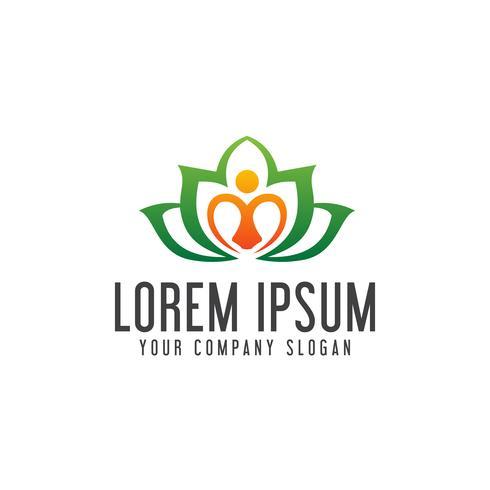 yoga leaf logo. healt care logo design concept template