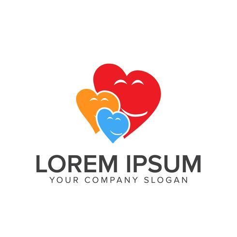 logotipo de la gente del corazón. plantilla de concepto de diseño de logotipo de cuidado familiar