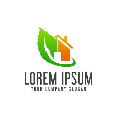 Plantilla de concepto de diseño de logotipo de bienes raíces verde vector