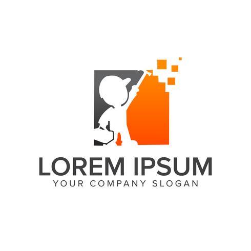 Plantilla de concepto de diseño de logotipo de personas de construcción vector