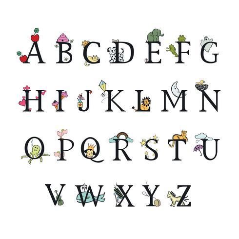 Alfabeto de los niños Ilustración vectorial