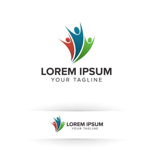 Bedrijfs- en advieslogo. succes mensen logo ontwerpconcept