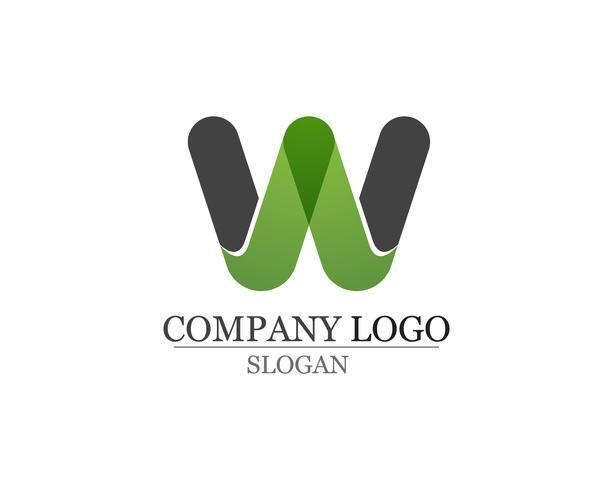 Aplicación de plantilla de símbolos y logotipo de empresa de letras W