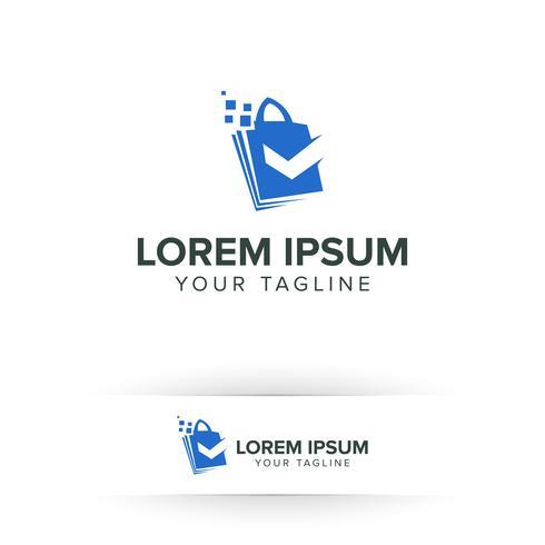 shoping bag logo online with check mark logo design concept template vector