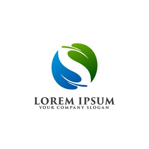 letter s leaf logo design concept template