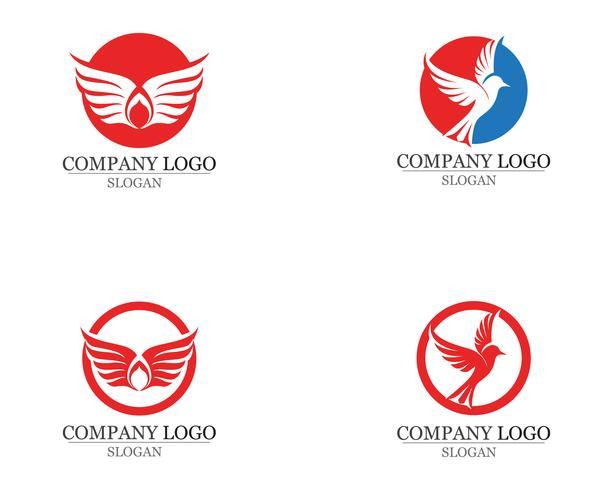 Ailes oiseau signe icônes de modèle abstrait