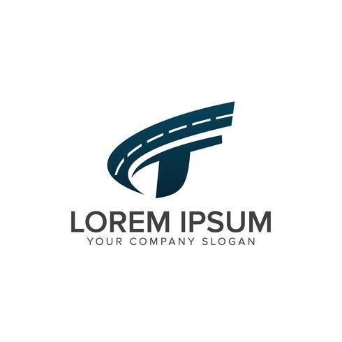 Plantilla de concepto de diseño de logo de carretera letra t