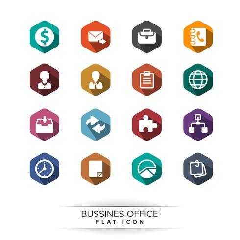 Conjunto de iconos de negocios básicos. estilo de sombra larga plana