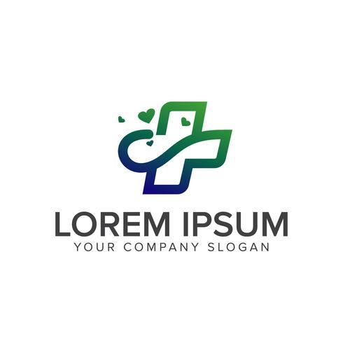 Logotipo médico y sanador. Cuidado sanitario Farmacéutico diseño de logotipo c vector