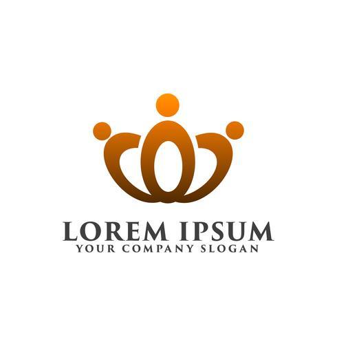 modello di concetto di progettazione logo persone corona