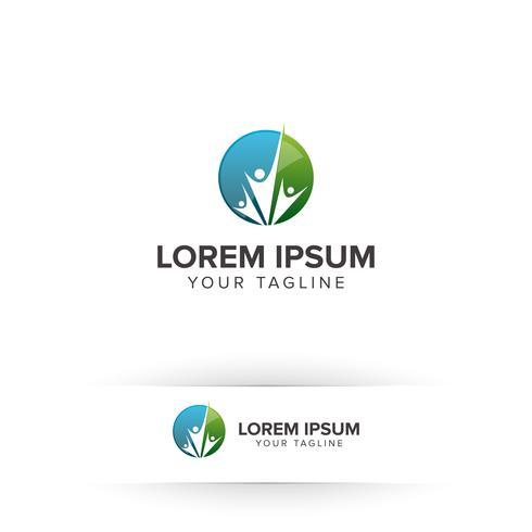 modèle de concept de conception de logo de soins familiaux personnes