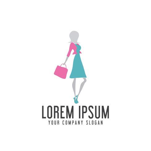 shoping woman logo design concept template