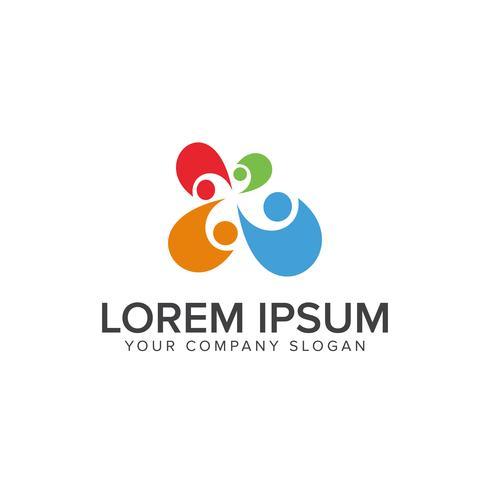 modelo de conceito de design de logotipo de trabalho em equipe de pessoas