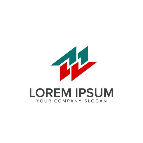 Paar Buchstabe m Logo-Design-Konzept-Vorlage