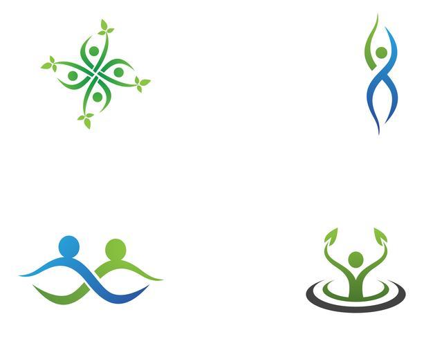 Icone del modello logo e simboli di persone di comunità vettore