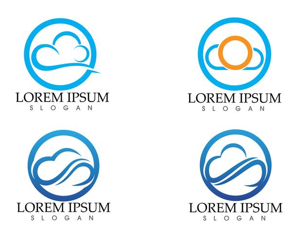 Wolkenlogoschablonenvektorillustrations-Designikonen