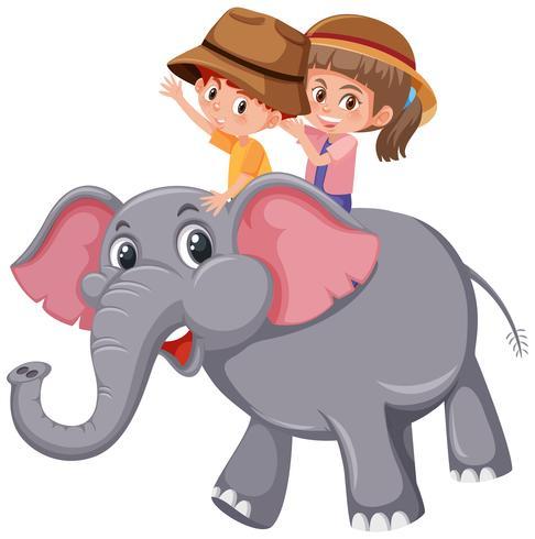 Barn som rider elefant på vit bakgrund