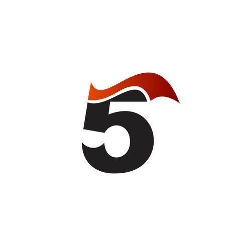 Figur 5 logo design koncept mall vektor