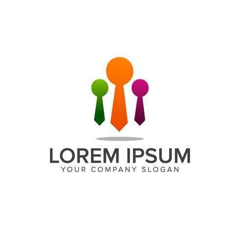 logotipo del equipo de empresario. Plantilla de concepto de diseño de logo de liderazgo