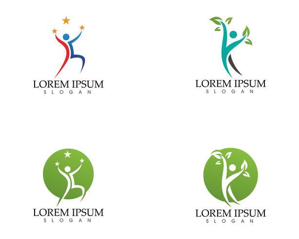 Lyckliga människor i abstrakt naturekologi logosymbol