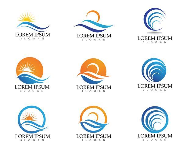 Sol och vatten våg Logo mall vektor illustration design