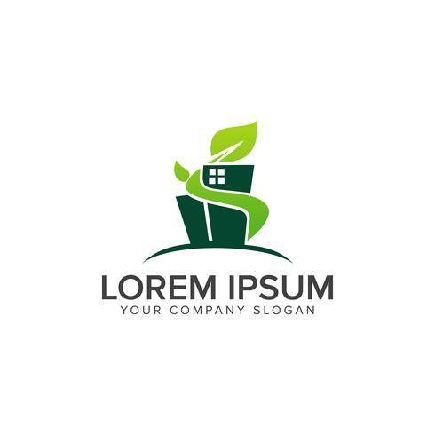 Plantilla de concepto de diseño de logotipo de construcción de edificio verde