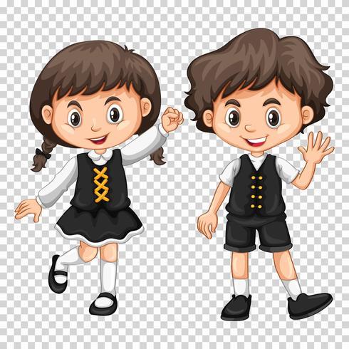 Pojke och tjej med svart hår
