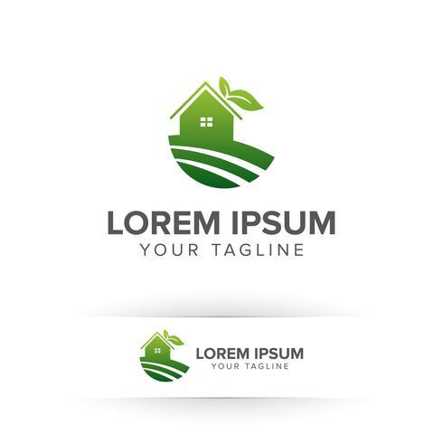 Concepto de diseño de logotipo de casa ecológica casa verde naturaleza