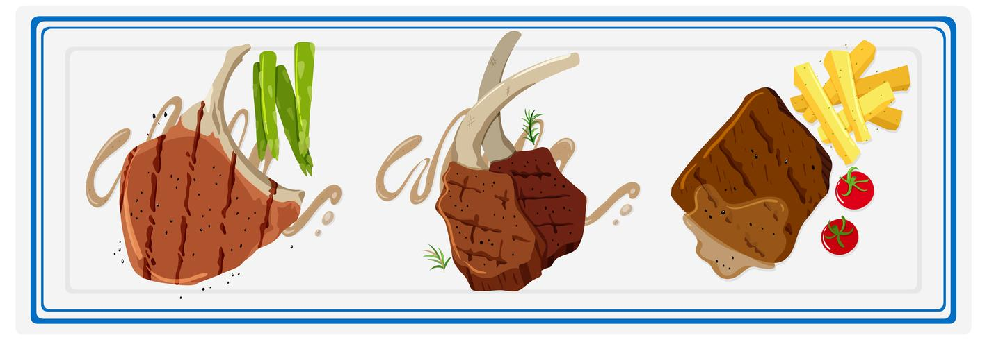 Porcchop et steaks sur plaque