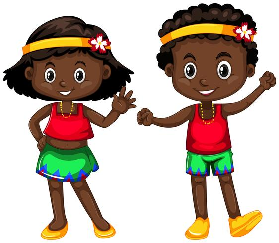 Papua New Guinea boy and girl on white background vector